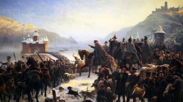 Blücher's army crossing the Rhine, 1813