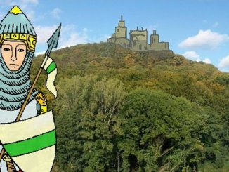 Wolkenburg and a scratch of the medieval castle on top (collage)