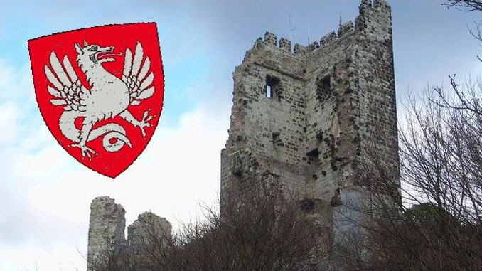 Drachenfels Castle and coat of arms