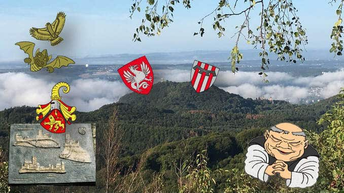 Drachenfels, Löwenburg and coat of arms. Heraldic animals dragons and lions.