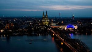 Rhine front at Cologne, evening