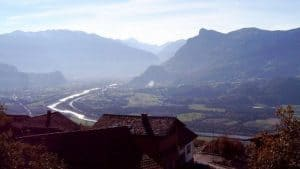 Alpine Rhine seen from Triesenberg, Liechtenstein