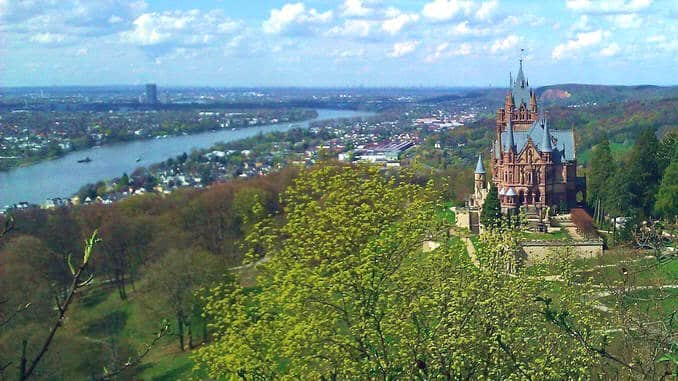 View from Drachenfels upon Drachenburg Castle and the Rhine Valley